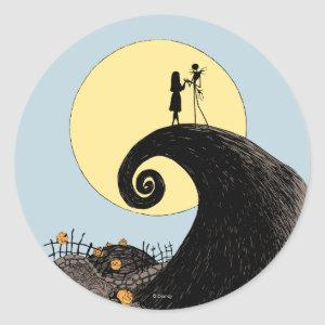 Jack and Sally   Moon Silhouette Classic Round Sticker