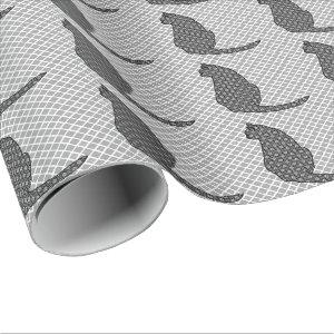 Japanese Cat - Black and White Kimono Print Wrapping Paper