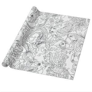 Japanese Koi Fish Black and White Pattern Wrapping Paper