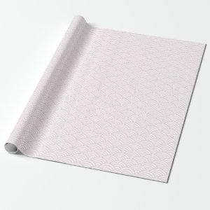 Japanese Waves, Light Pink on White Wrapping Paper