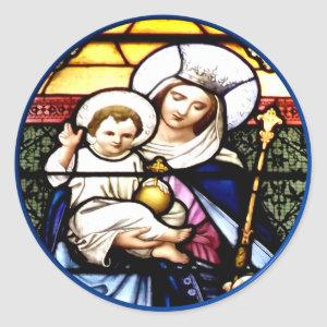 Jesus and Mary stained glass window Classic Round Sticker