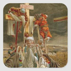 Jesus Christ taken down from the Cross Square Sticker