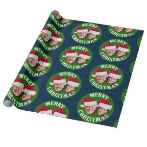 Joe Biden Kamala Harris 2020 w/ Santa Hats - Blue Wrapping Paper