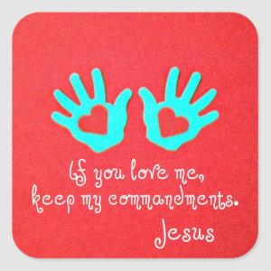 John 14:15 square sticker
