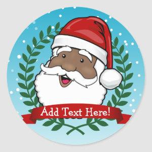 Jolly Ethnic Santa Custom Text Classic Round Sticker