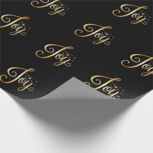 """Joy"" Black Gold Script Elegant Holiday Wrapping Paper"