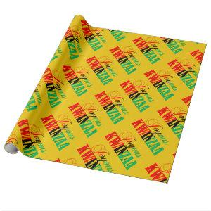 Joyous Kwanzaa Colors Typography Pattern Wrapping Paper