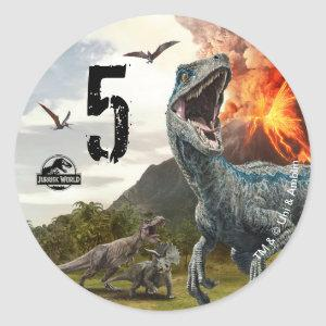 Jurassic World | Dinosaur Birthday Classic Round Sticker