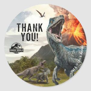 Jurassic World | Dinosaur Birthday Thank You Classic Round Sticker