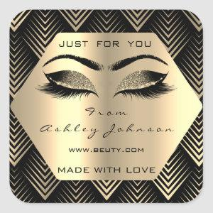 Just For You Made With Love Sepia Gold Eyes Makeup Square Sticker