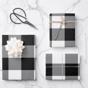 Just White and Black Buffalo Plaid Christmas Wrapping Paper Sheets