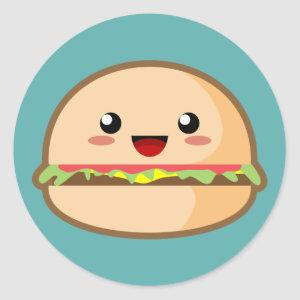Kawaii Hamburger Classic Round Sticker