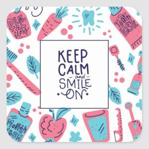 Keep Calm And Smile On | Cute Phrase Square Sticker