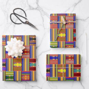 Kente Multi-Color Stained Glass  Wrapping Paper Sheets