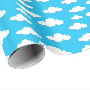 Kids And Clouds Wrapping Paper