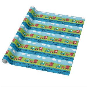 Kids Choo Choo Train Caboose Wrapping Paper