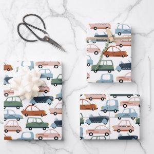 Kids Colorful Retro Car and Truck Pattern Wrapping Paper Sheets