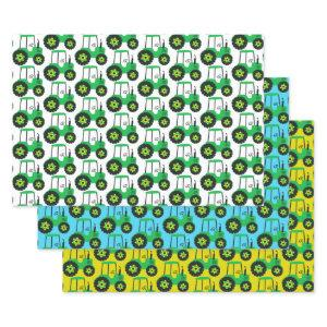 Kids Green Tractor Birthday Blue Yellow White Wrapping Paper Sheets