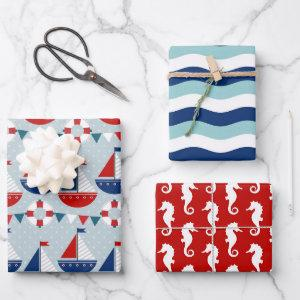 Kids Nautical Pattern Wrapping Paper Sheets