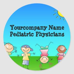 Kids Playing Outdoors on a Sunny Day Classic Round Sticker