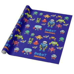 Kids ROBOT Named Royal Blue Cartoon Funny Robots Wrapping Paper