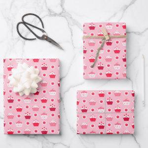 Kids Valentine's Day Heart Cupcakes Galore Wrapping Paper Sheets