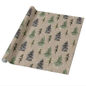Kraft Color Winter Woodland Snowy Spruce Trees Wrapping Paper