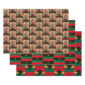 Kwanzaa Candles Africa Map Designer Crochet Print Wrapping Paper Sheets