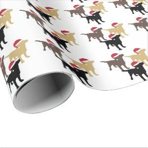 Labrador Retrievers In Santa Hat Christmas Wrapping Paper