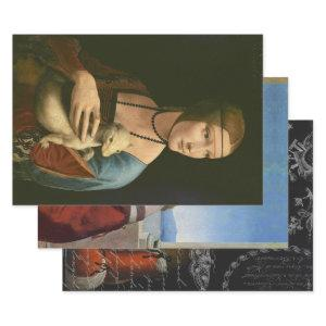 LADIES OF RENAISSANCE DECOUPAGE WRAPPING PAPER SHEETS