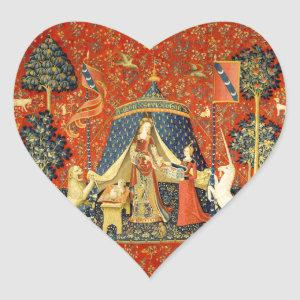 Lady and the Unicorn Medieval Tapestry Art Heart Sticker
