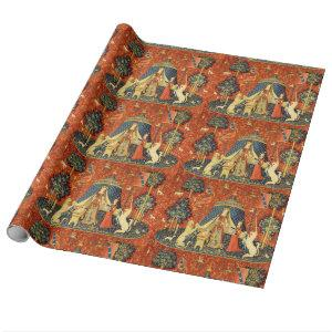 Lady and the Unicorn Medieval Tapestry Art Wrapping Paper