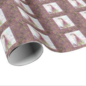 Lady Elf on Mauve Florals Wrapping Paper