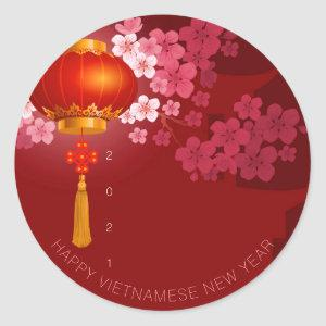 Lanterns Hao Dao Happy Vietnamese New c Year RS Classic Round Sticker