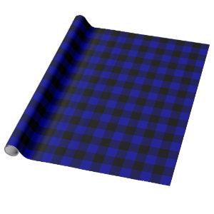 Large Black and Blue Buffalo Plaid Wrapping Paper