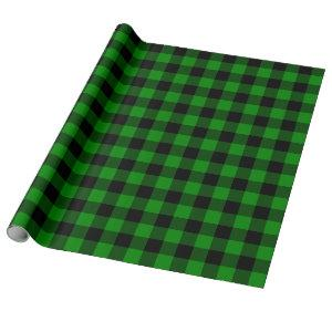 Large Black and Green Buffalo Plaid Wrapping Paper