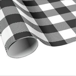 Large Black and White Buffalo Check Holiday Wrapping Paper