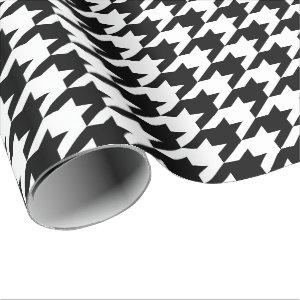 Large Black and White Houndstooth Wrapping Paper