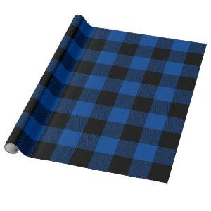 Large Blue and Black Chevron Buffalo Plaid Wrapping Paper