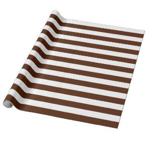 Large Brown and White Stripes Wrapping Paper