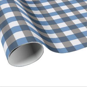 Large Buffalo Check, grey / gray and blue Wrapping Paper