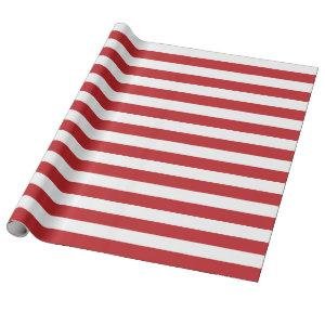 Large Dark Red and White Stripes Wrapping Paper