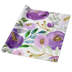 Large Gold and Ultraviolet Floral Pattern Wrapping Paper