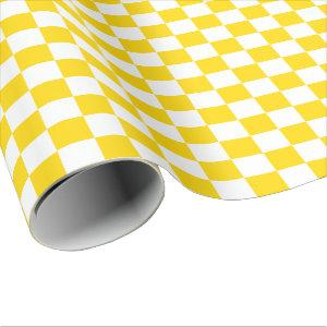 Large Golden Yellow and White Checks Wrapping Paper