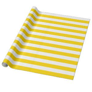 Large Golden Yellow and White Stripes Wrapping Paper