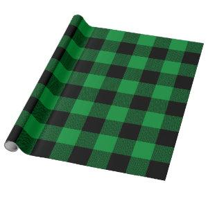 Large Green and Black Chevron Buffalo Plaid Wrapping Paper