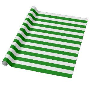 Large Green and White Stripes Wrapping Paper