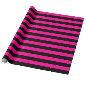 Large Hot Pink and Black Stripes Wrapping Paper