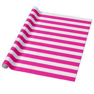 Large Hot Pink and White Stripes Wrapping Paper