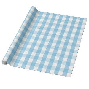 Large Light Blue and White Gingham Wrapping Paper